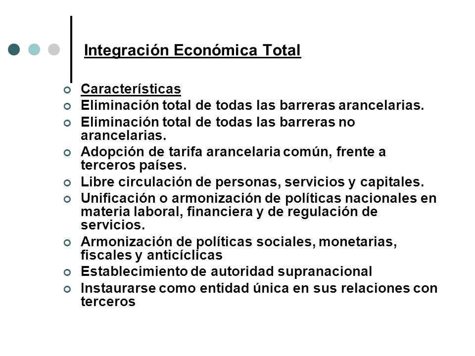 Integración Económica Total Características Eliminación total de todas las barreras arancelarias. Eliminación total de todas las barreras no arancelar
