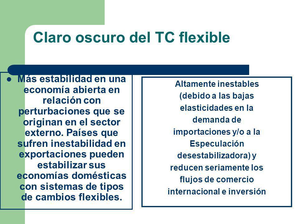Claro oscuro del TC flexible Más estabilidad en una economía abierta en relación con perturbaciones que se originan en el sector externo. Países que s