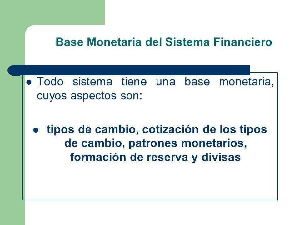 Base Monetaria del Sistema Financiero Todo sistema tiene una base monetaria, cuyos aspectos son: tipos de cambio, cotización de los tipos de cambio, p