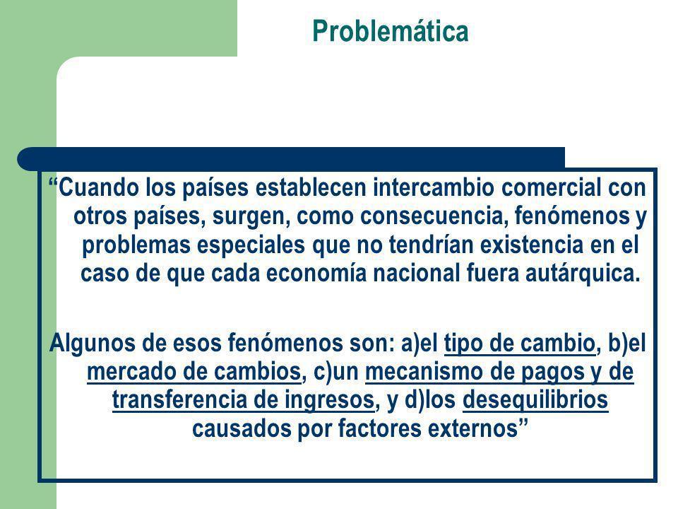 Problemática Cuando los países establecen intercambio comercial con otros países, surgen, como consecuencia, fenómenos y problemas especiales que no t