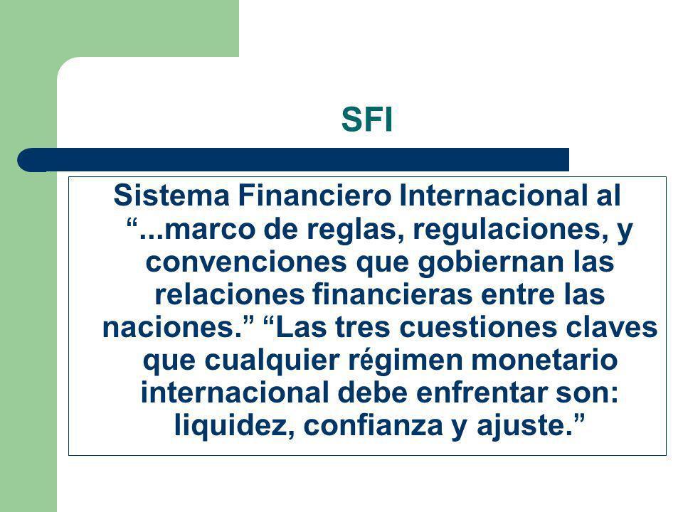 SFI Sistema Financiero Internacional al...marco de reglas, regulaciones, y convenciones que gobiernan las relaciones financieras entre las naciones. L