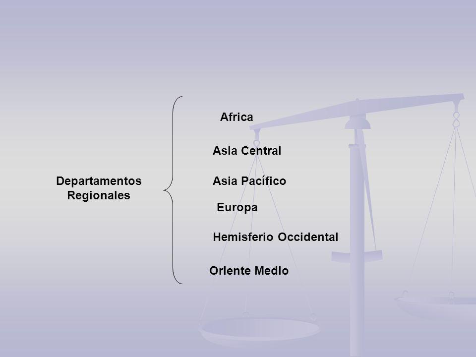 Hemisferio Occidental Africa Asia Pacífico Europa Oriente Medio Asia Central Departamentos Regionales