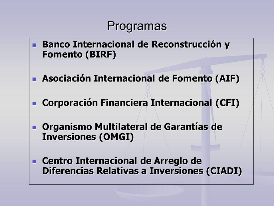 Programas Banco Internacional de Reconstrucción y Fomento (BIRF) Banco Internacional de Reconstrucción y Fomento (BIRF) Asociación Internacional de Fo