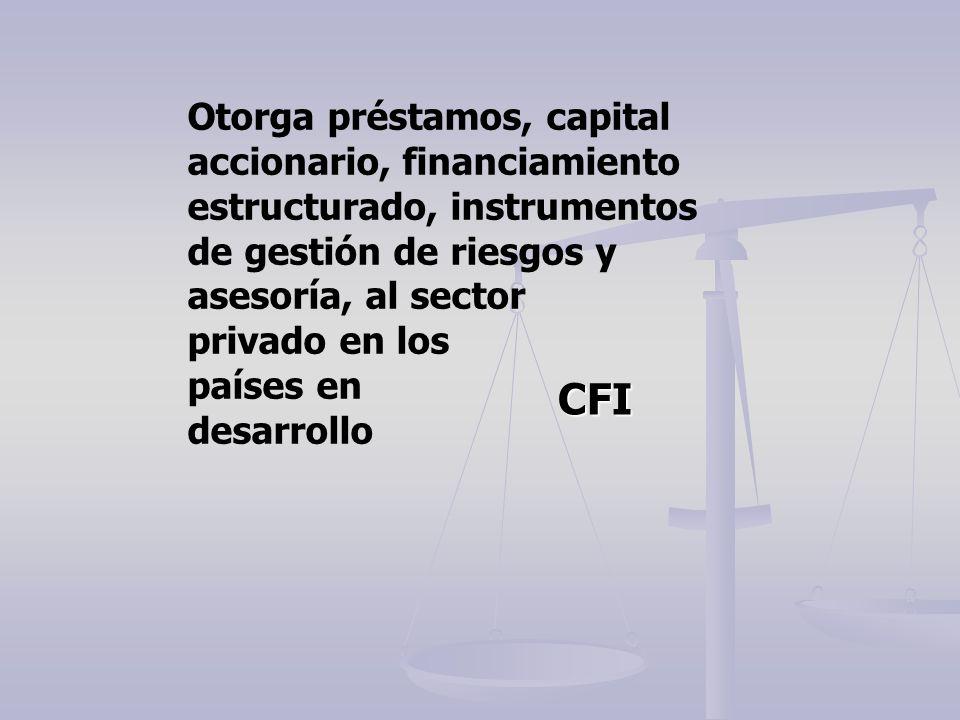 CFI Otorga préstamos, capital accionario, financiamiento estructurado, instrumentos de gestión de riesgos y asesoría, al sector privado en los países
