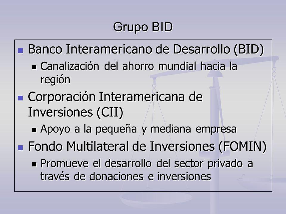 Grupo BID Banco Interamericano de Desarrollo (BID) Banco Interamericano de Desarrollo (BID) Canalización del ahorro mundial hacia la región Canalizaci