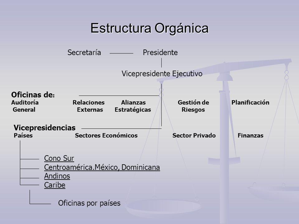 Estructura Orgánica SecretaríaPresidente Vicepresidente Ejecutivo Oficinas de : Auditoría Relaciones Alianzas Gestión de Planificación General Externa