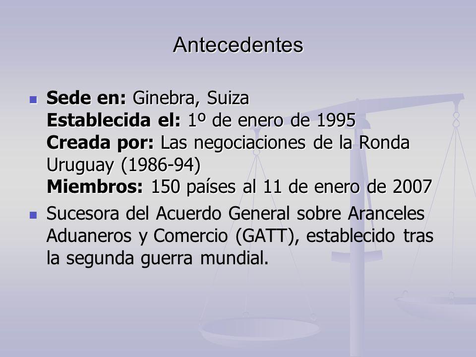 Antecedentes Sede en: Ginebra, Suiza Establecida el: 1º de enero de 1995 Creada por: Las negociaciones de la Ronda Uruguay (1986-94) Miembros: 150 paí