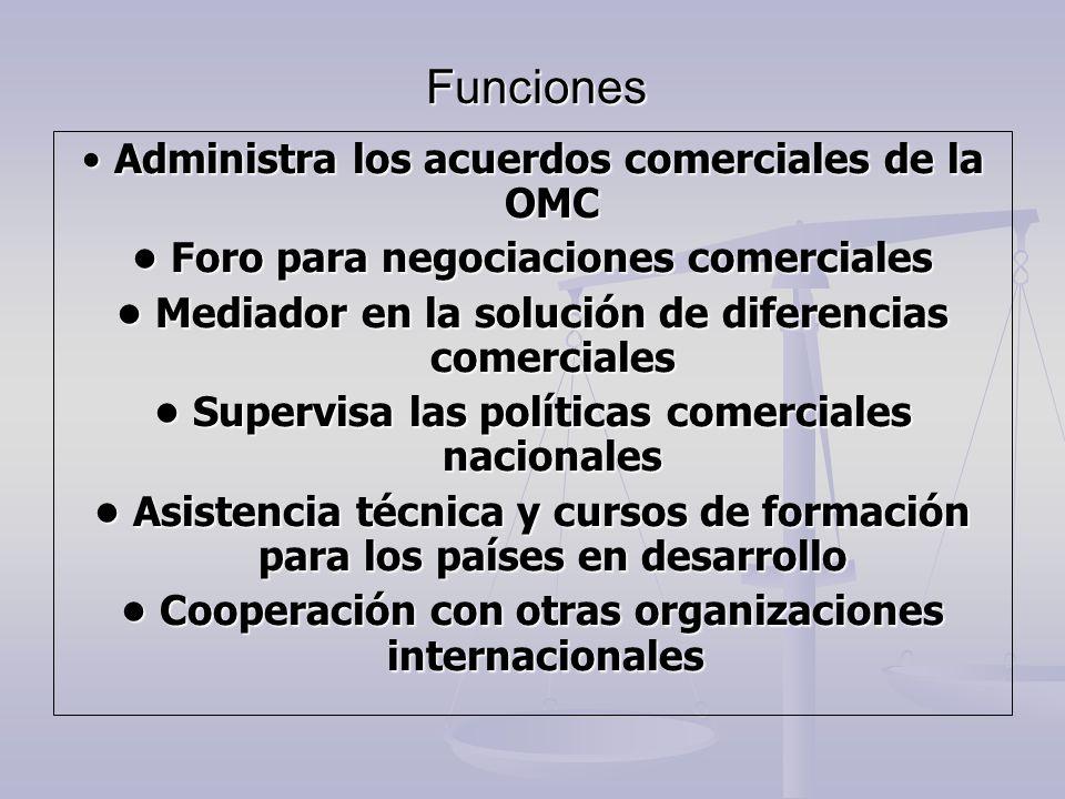 Funciones Administra los acuerdos comerciales de la OMC Administra los acuerdos comerciales de la OMC Foro para negociaciones comerciales Foro para ne