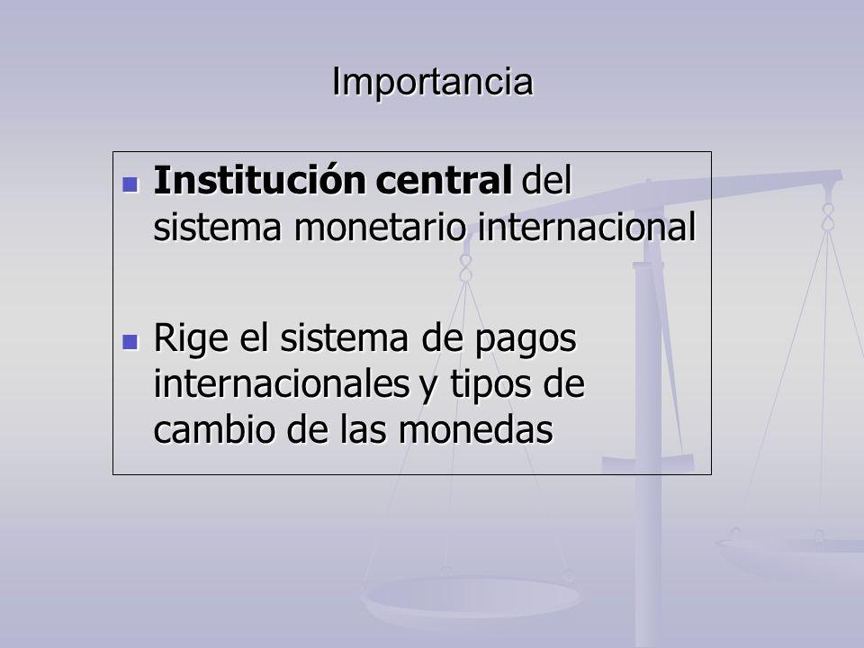 Importancia Institución central del sistema monetario internacional Institución central del sistema monetario internacional Rige el sistema de pagos i