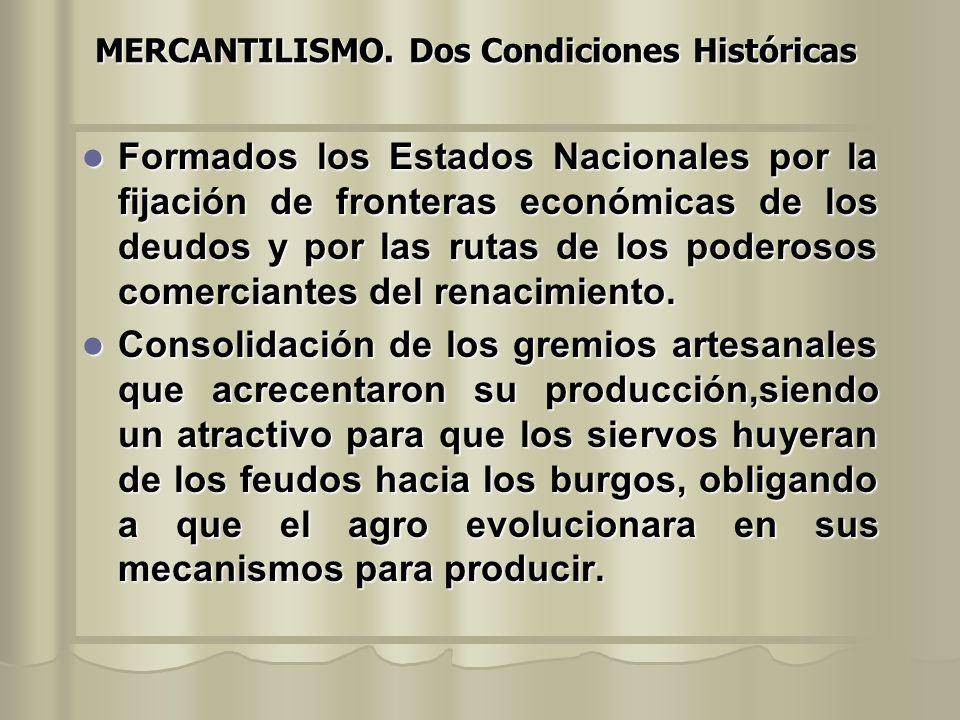 MERCANTILISMO. Dos Condiciones Históricas Formados los Estados Nacionales por la fijación de fronteras económicas de los deudos y por las rutas de los