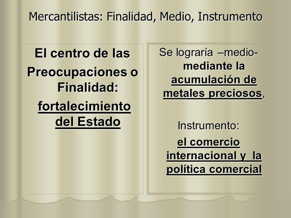 Mercantilistas: Finalidad, Medio, Instrumento El centro de las Preocupaciones o Finalidad: fortalecimiento del Estado fortalecimiento del Estado Se lo