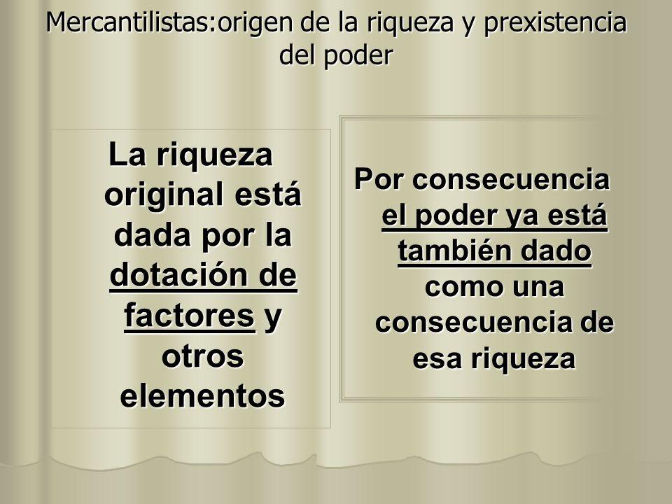 Mercantilistas:origen de la riqueza y prexistencia del poder La riqueza original está dada por la dotación de factores y otros elementos Por consecuen