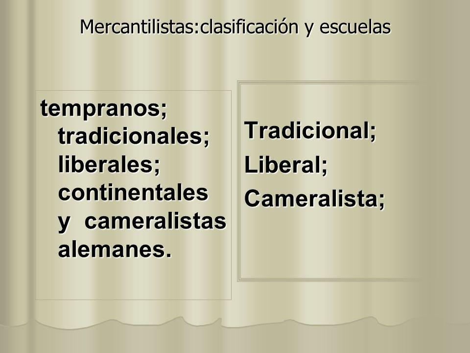 Mercantilistas:clasificación y escuelas tempranos; tradicionales; liberales; continentales y cameralistas alemanes. Tradicional;Liberal;Cameralista;