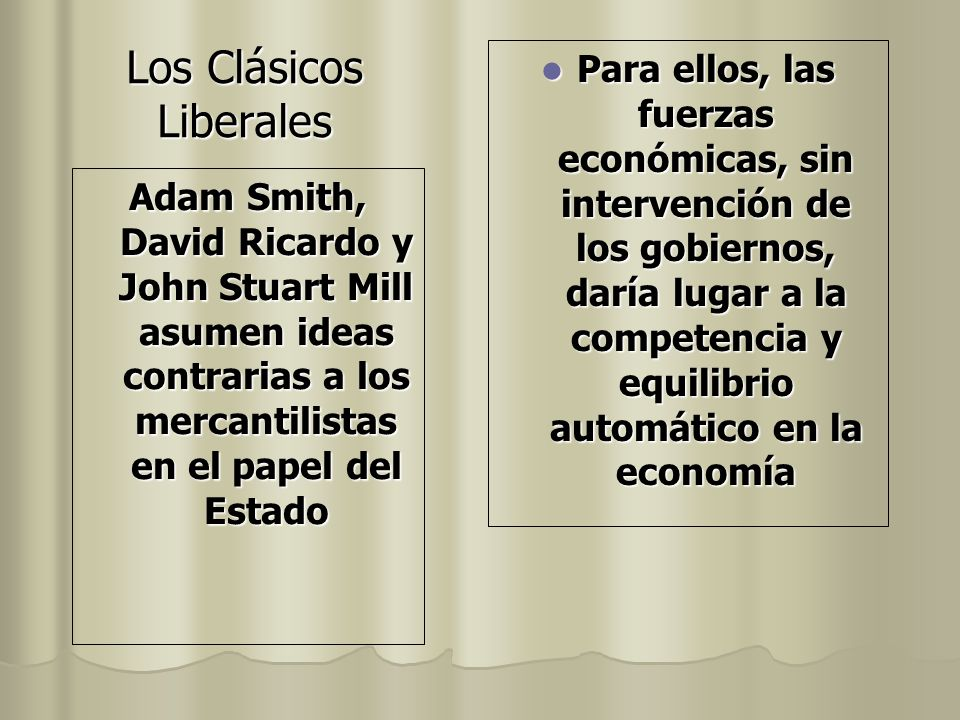 Adam Smith, David Ricardo y John Stuart Mill asumen ideas contrarias a los mercantilistas en el papel del Estado Para ellos, las fuerzas económicas, s