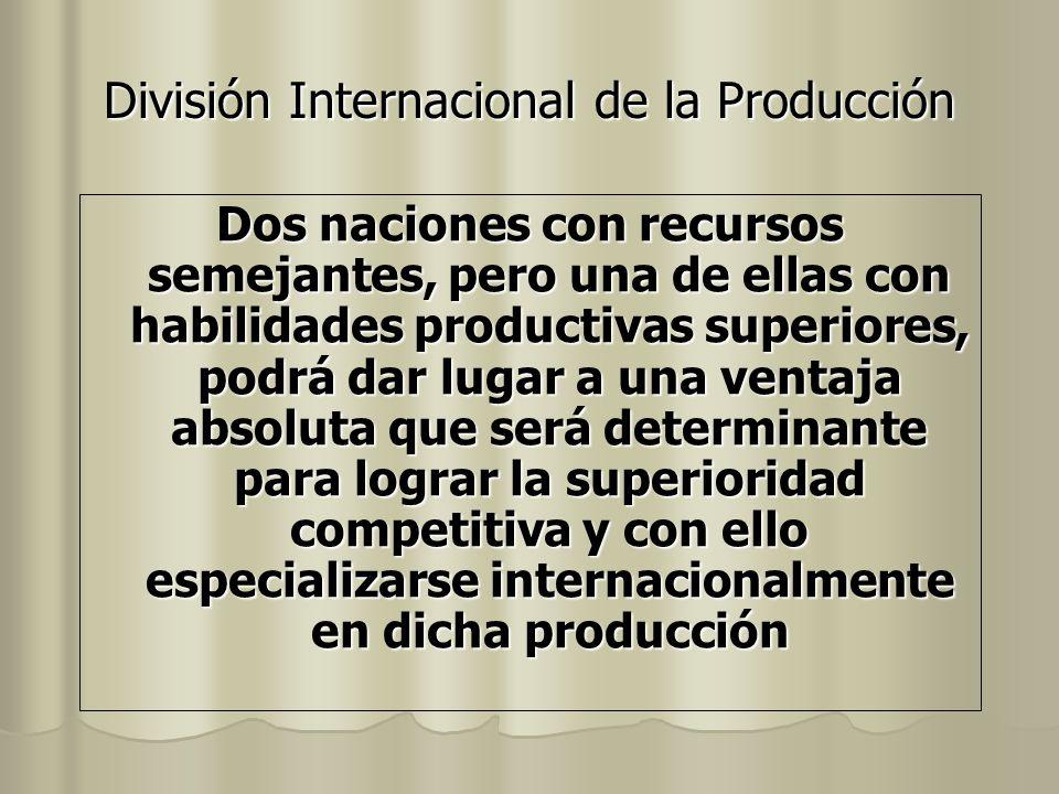 División Internacional de la Producción Dos naciones con recursos semejantes, pero una de ellas con habilidades productivas superiores, podrá dar luga