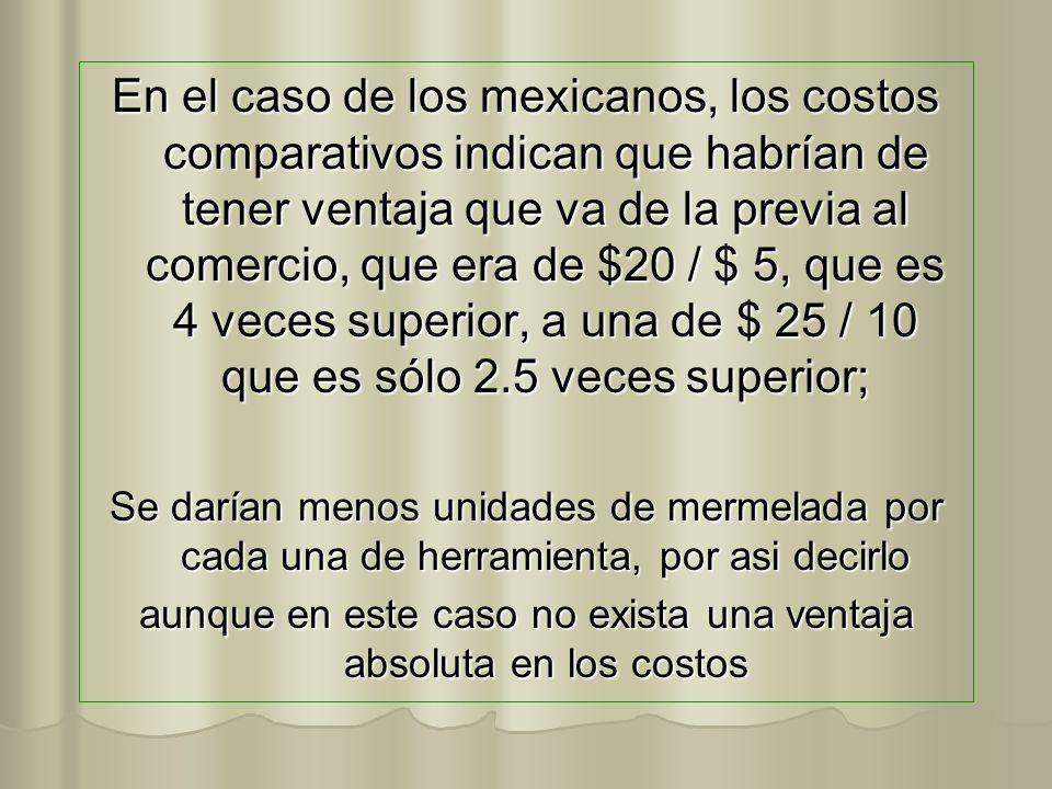 En el caso de los mexicanos, los costos comparativos indican que habrían de tener ventaja que va de la previa al comercio, que era de $20 / $ 5, que e