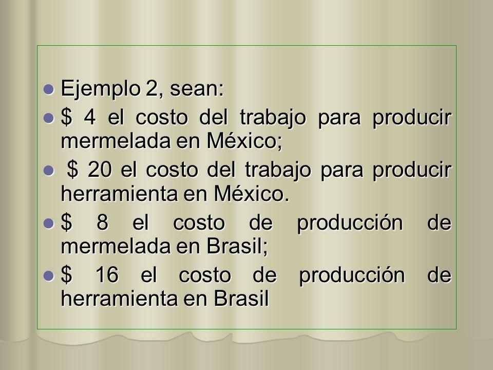Ejemplo 2, sean: Ejemplo 2, sean: $ 4 el costo del trabajo para producir mermelada en México; $ 4 el costo del trabajo para producir mermelada en Méxi