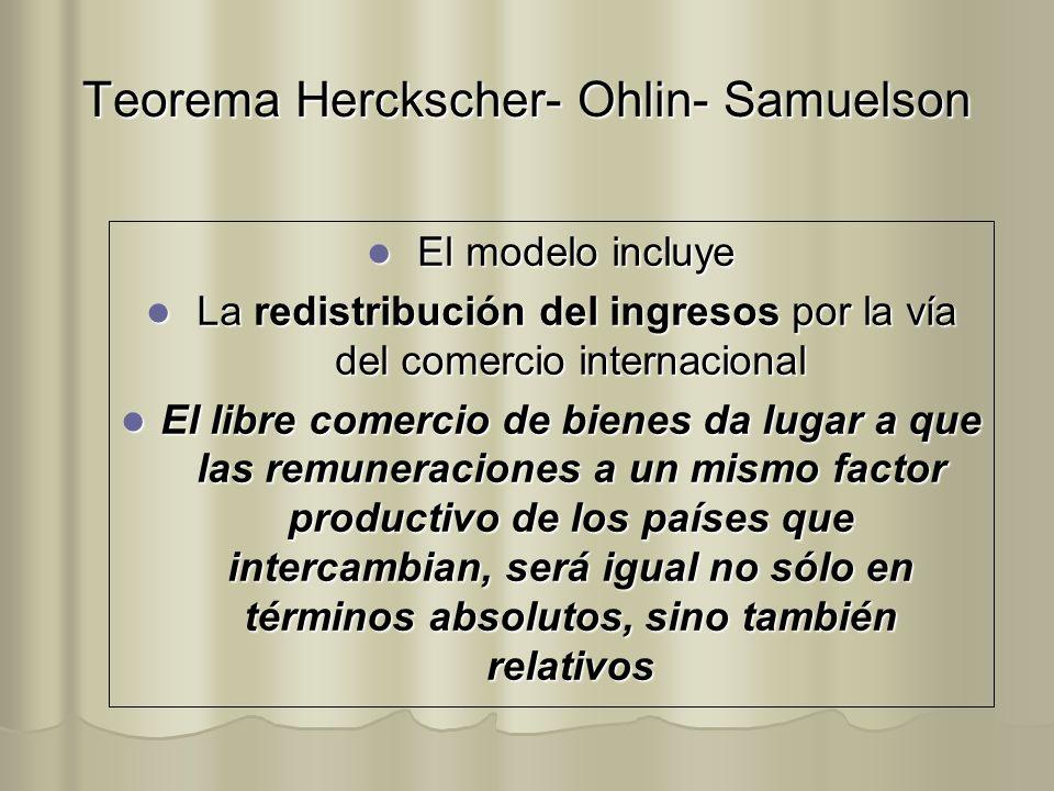 Teorema Herckscher- Ohlin- Samuelson El modelo incluye El modelo incluye La redistribución del ingresos por la vía del comercio internacional La redis