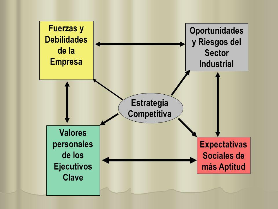 Fuerzas y Debilidades de la Empresa Oportunidades y Riesgos del Sector Industrial Valores personales de los Ejecutivos Clave Expectativas Sociales de