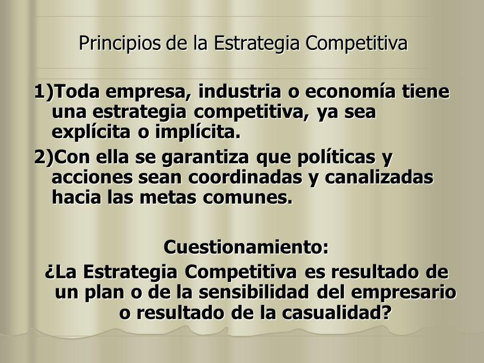 Principios de la Estrategia Competitiva 1)Toda empresa, industria o economía tiene una estrategia competitiva, ya sea explícita o implícita. 2)Con ell