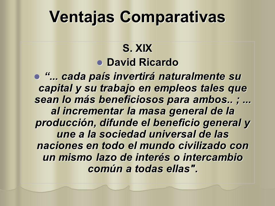 Ventajas Comparativas S. XIX David Ricardo David Ricardo... cada país invertirá naturalmente su capital y su trabajo en empleos tales que sean lo más