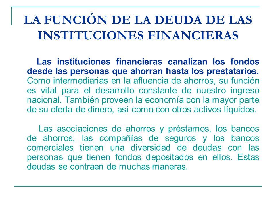 LA FUNCIÓN DE LA DEUDA DE LAS INSTITUCIONES FINANCIERAS Las instituciones financieras canalizan los fondos desde las personas que ahorran hasta los prestatarios.