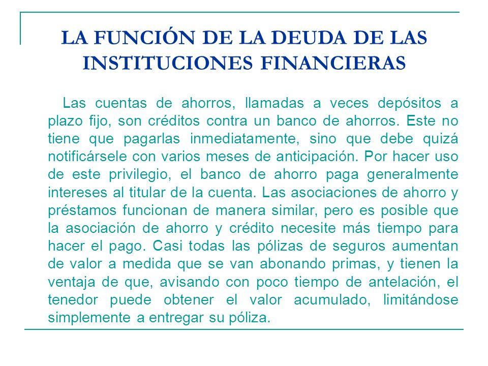 LA FUNCIÓN DE LA DEUDA DE LAS INSTITUCIONES FINANCIERAS Las cuentas de ahorros, llamadas a veces depósitos a plazo fijo, son créditos contra un banco de ahorros.