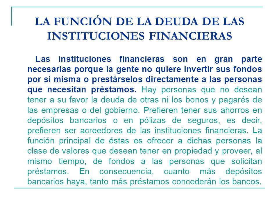 LA FUNCIÓN DE LA DEUDA DE LAS INSTITUCIONES FINANCIERAS Las instituciones financieras son en gran parte necesarias porque la gente no quiere invertir sus fondos por sí misma o prestárselos directamente a las personas que necesitan préstamos.
