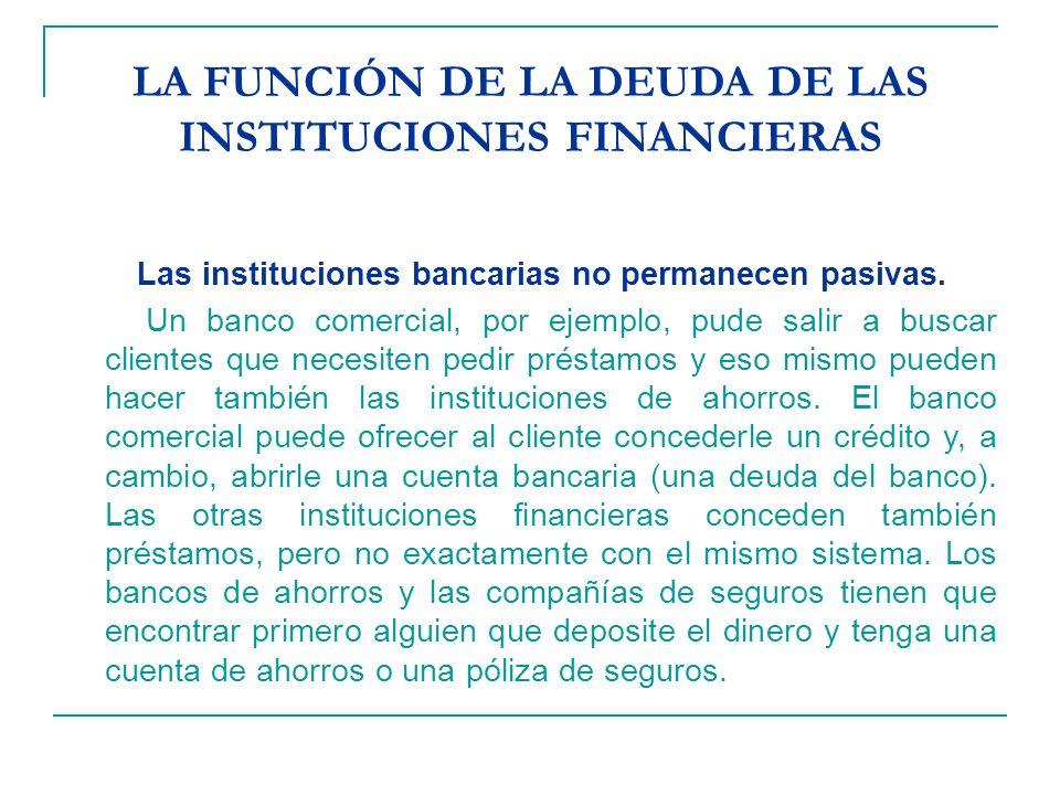 LA FUNCIÓN DE LA DEUDA DE LAS INSTITUCIONES FINANCIERAS Las instituciones bancarias no permanecen pasivas. Un banco comercial, por ejemplo, pude salir