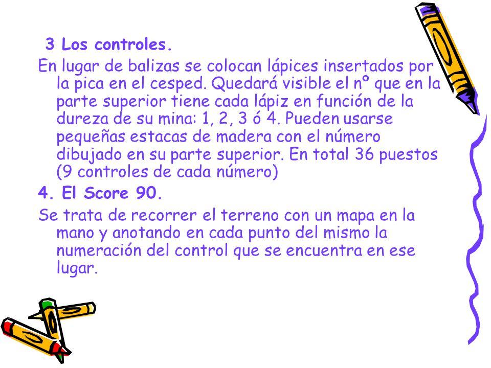 3 Los controles. En lugar de balizas se colocan lápices insertados por la pica en el cesped. Quedará visible el nº que en la parte superior tiene cada