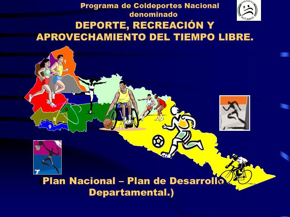 (Plan Nacional – Plan de Desarrollo Departamental.) Programa de Coldeportes Nacional denominado DEPORTE, RECREACIÓN Y APROVECHAMIENTO DEL TIEMPO LIBRE