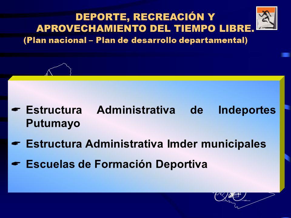 (Plan nacional – Plan de desarrollo departamental) DEPORTE, RECREACIÓN Y APROVECHAMIENTO DEL TIEMPO LIBRE. 4 5 6 7 10 12 8 9 11 13 Estructura Administ