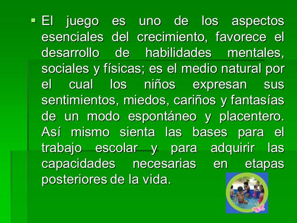 El juego es uno de los aspectos esenciales del crecimiento, favorece el desarrollo de habilidades mentales, sociales y físicas; es el medio natural po