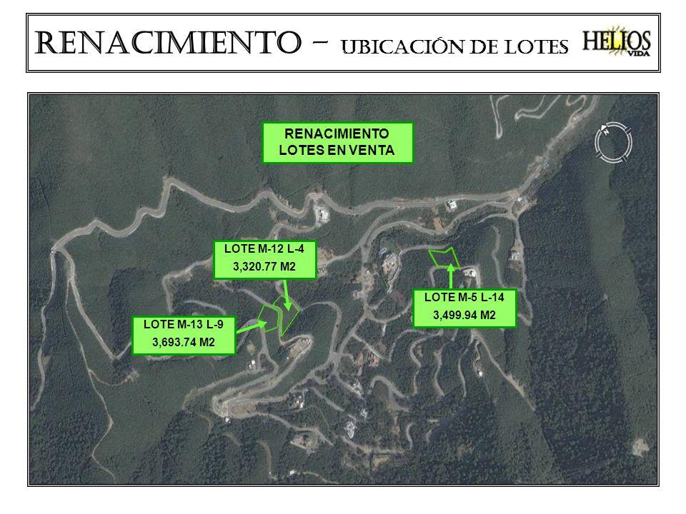 LOTE M-12 L-4 3,320.77 M2 LOTE M-13 L-9 3,693.74 M2 LOTE M-5 L-14 3,499.94 M2 Renacimiento – ubicación de lotes RENACIMIENTO LOTES EN VENTA