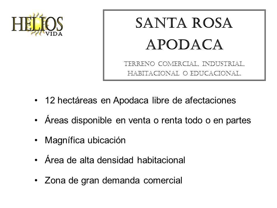santa rosa apodaca Terreno comercial, industrial, habitacional o educacional. 12 hectáreas en Apodaca libre de afectaciones Áreas disponible en venta