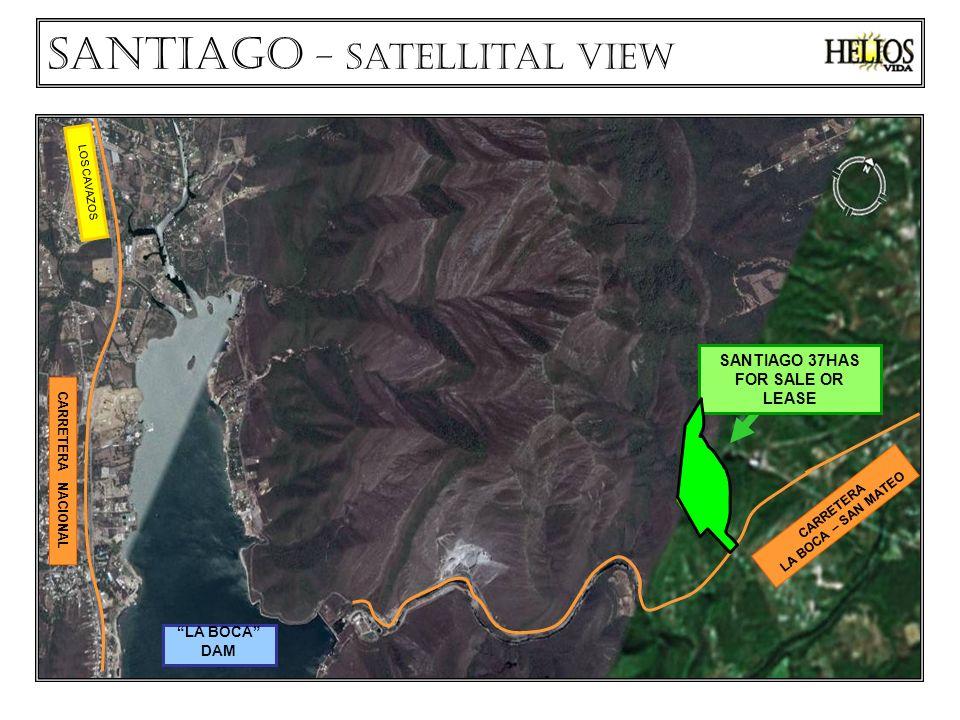 CARRETERA NACIONAL LA BOCA DAM VILLA DE SANTIAGO LOS CAVAZOS Santiago - VISTA Satelital SANTIAGO 37HAS for sale or lease