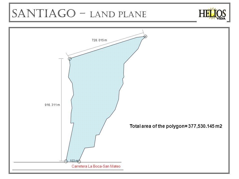 Total area of the polygon= 377,530.145 m2 Carretera La Boca-San Mateo 103 m 916.