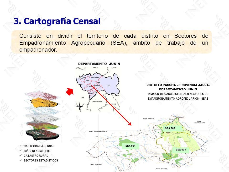3. Cartografía Censal Consiste en dividir el territorio de cada distrito en Sectores de Empadronamiento Agropecuario (SEA), ámbito de trabajo de un em