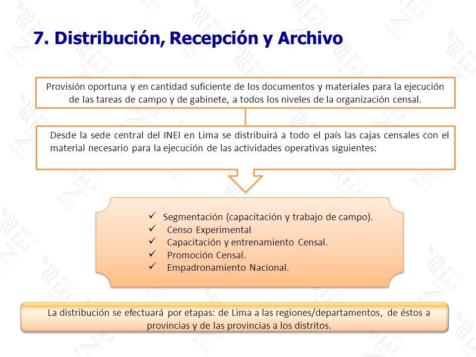 7. Distribución, Recepción y Archivo La distribución se efectuará por etapas: de Lima a las regiones/departamentos, de éstos a provincias y de las pro