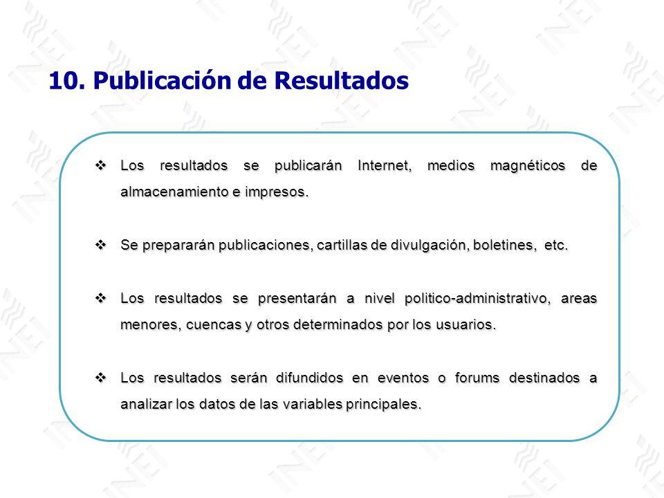 10. Publicación de Resultados Los resultados se publicarán Internet, medios magnéticos de almacenamiento e impresos. Los resultados se publicarán Inte