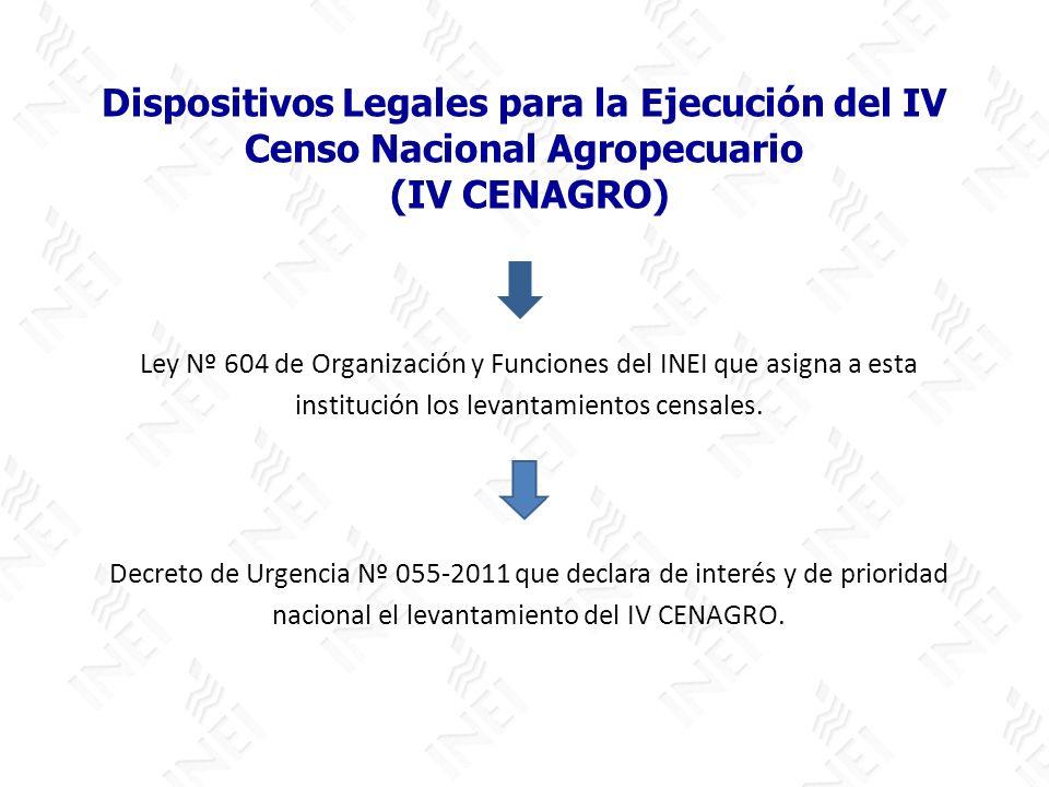 Dispositivos Legales para la Ejecución del IV Censo Nacional Agropecuario (IV CENAGRO) Ley Nº 604 de Organización y Funciones del INEI que asigna a es