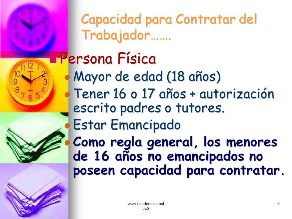 www.cuadernalia.net JcS 3 Capacidad para Contratar del Trabajador……. Persona Física Persona Física Mayor de edad (18 años) Mayor de edad (18 años) Ten