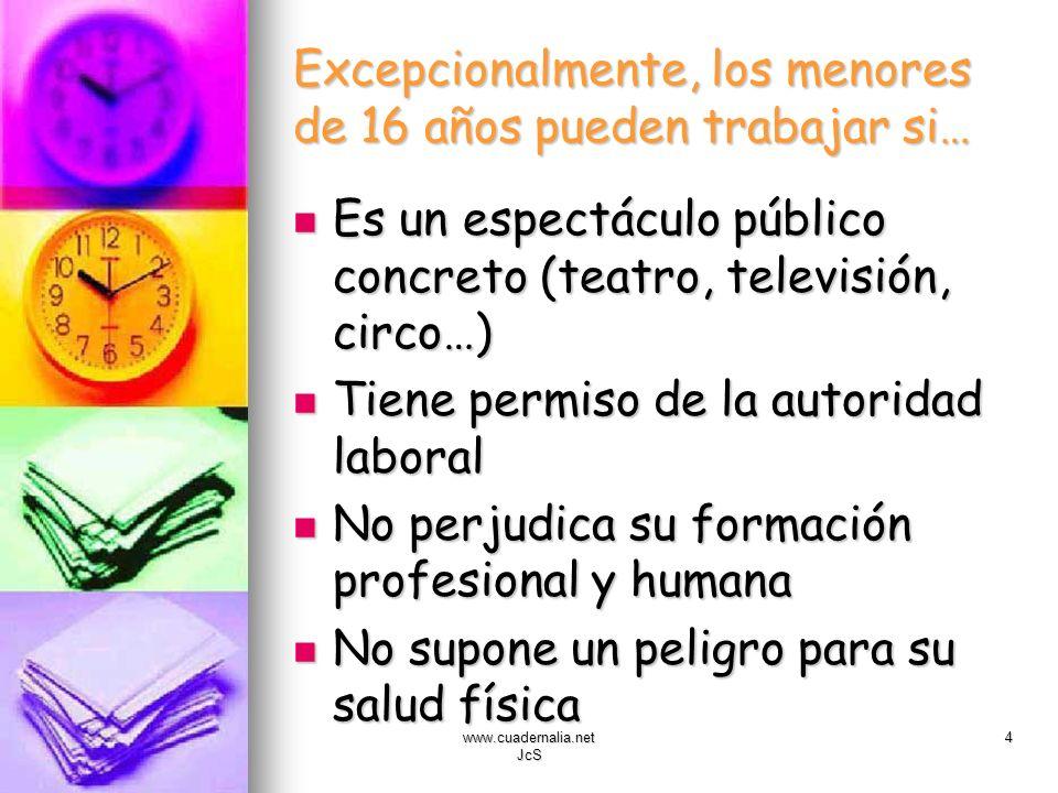 www.cuadernalia.net JcS 4 Excepcionalmente, los menores de 16 años pueden trabajar si… Es un espectáculo público concreto (teatro, televisión, circo…)