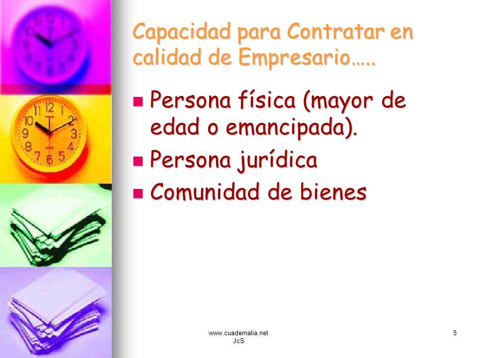 www.cuadernalia.net JcS 5 Capacidad para Contratar en calidad de Empresario….. Persona física (mayor de edad o emancipada). Persona física (mayor de e
