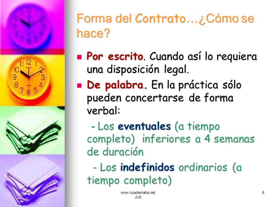 www.cuadernalia.net JcS 6 Forma del Contrato …¿Cómo se hace? Por escrito. Cuando así lo requiera una disposición legal. Por escrito. Cuando así lo req