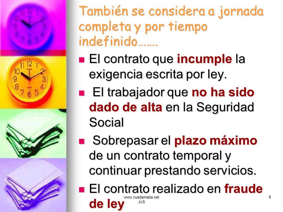 www.cuadernalia.net JcS 8 También se considera a jornada completa y por tiempo indefinido……. El contrato que incumple la exigencia escrita por ley. El