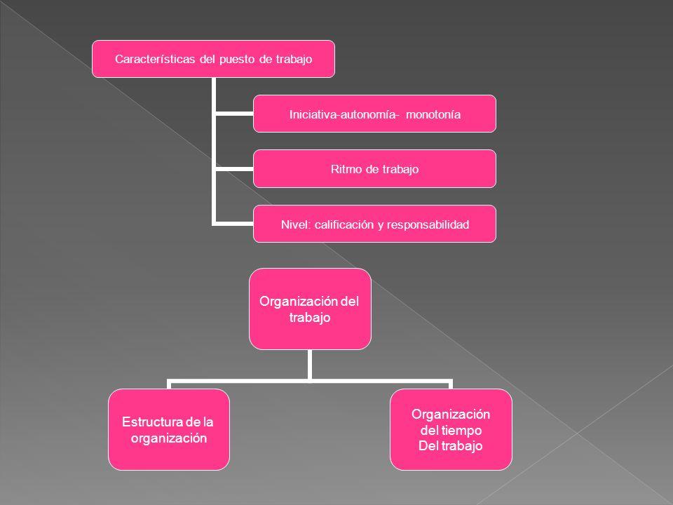 Características del puesto de trabajo Iniciativa- autonomía- monotonía Ritmo de trabajo Nivel: calificación y responsabilidad Organización del trabajo Estructura de la organización Organización del tiempo Del trabajo