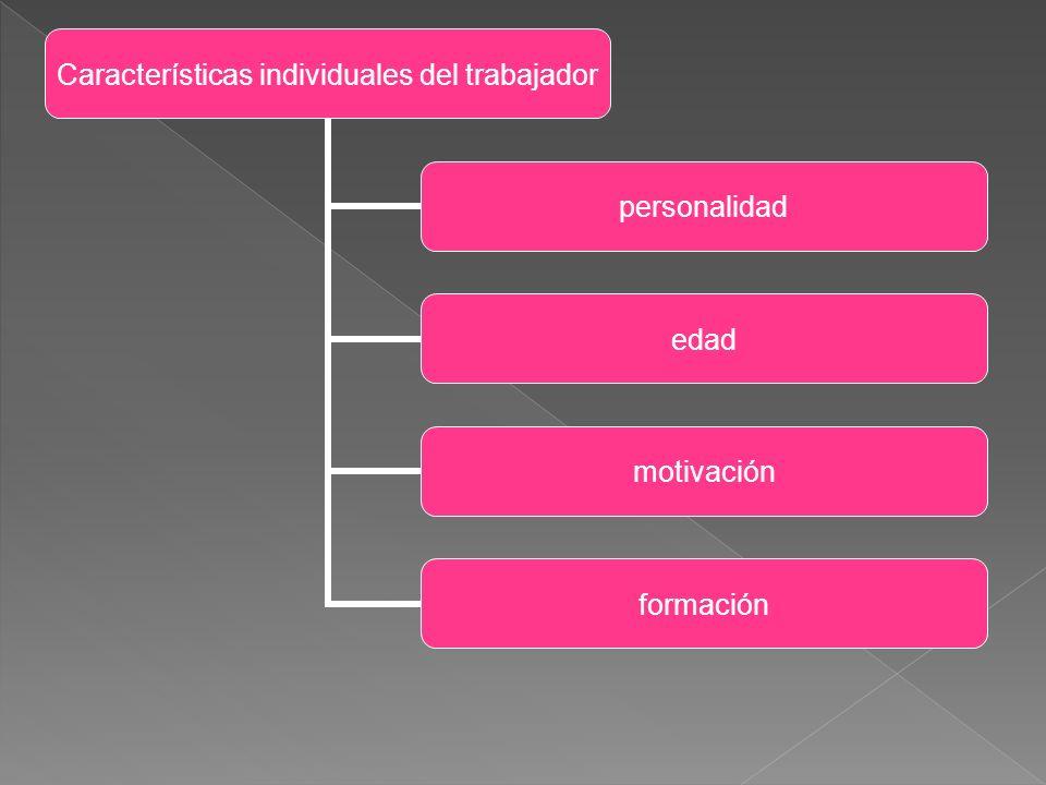 Características individuales del trabajador personalidad edad motivación formación