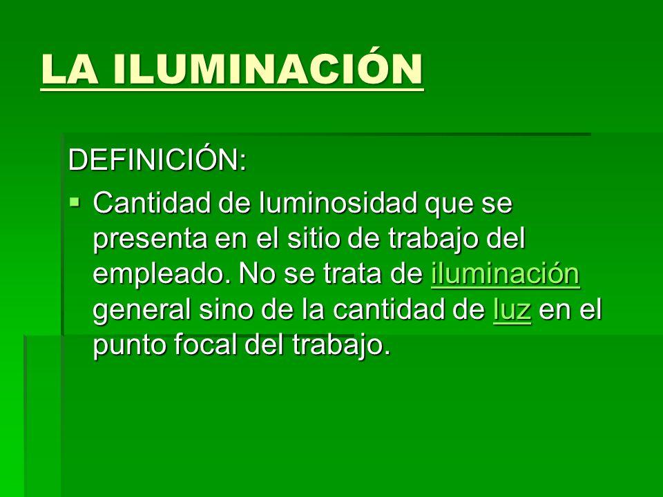 LA ILUMINACIÓN DEFINICIÓN: Cantidad de luminosidad que se presenta en el sitio de trabajo del empleado. No se trata de iluminación general sino de la