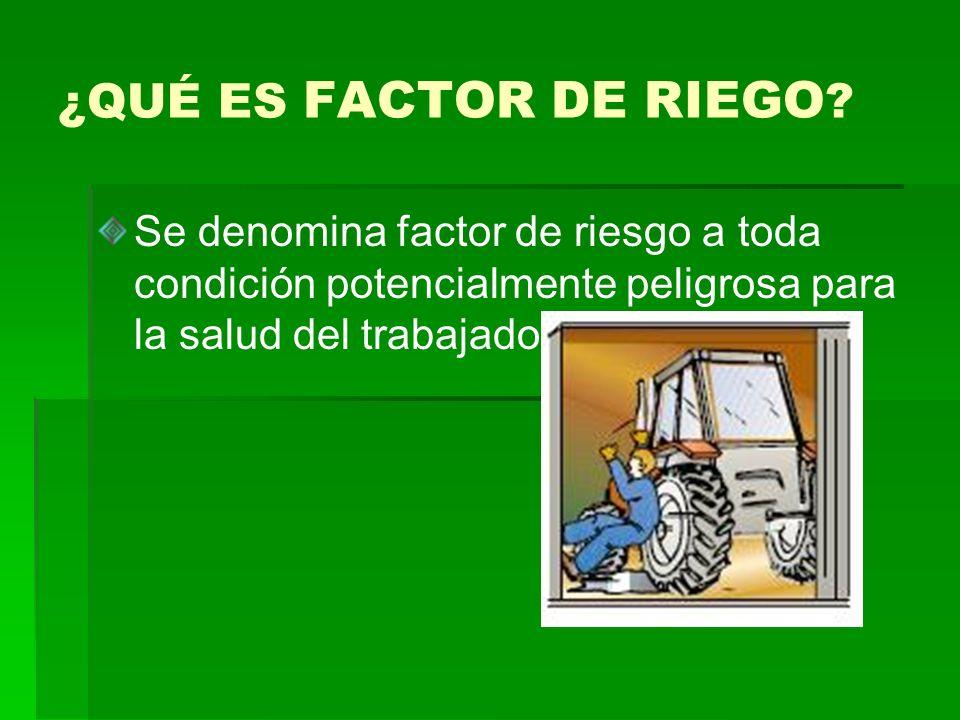 ¿QUÉ ES FACTOR DE RIEGO ? Se denomina factor de riesgo a toda condición potencialmente peligrosa para la salud del trabajador